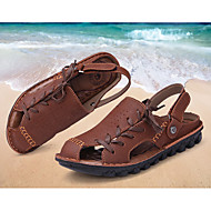 Men's Sandals Summer Cowhide Outdoor Flat Heel Lace-up Tan Khaki Other