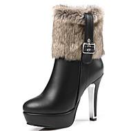 女性-オフィス ドレスシューズ カジュアル-レザーレット-スティレットヒール プラットフォーム-プラットフォーム ファッションブーツ-ブーツ-ブラック レッド ホワイト
