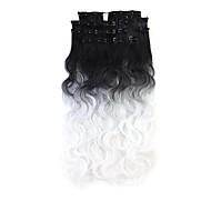 neitsi 60 centímetros 165g ondulado onda clipe na na extensão do cabelo ombre 8pcs trama de cabelo sintético / definir a cor escolher