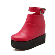Women's Boots Fall / Winter Fashion Boots  Casual Flat Heel Buckle Black / Red / Beige Others