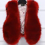 V-hals Uden ærmer Medium Dame Rød Beige Sort Grå Lilla Ensfarvet Efterår Vinter Simpel Afslappet/Hverdag Pelsfrakke,Imiteret pels PU