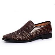 Kényelmes-Alacsony-Női cipő-Szandálok-Alkalmi-Bőr-Fekete / Barna / Fehér