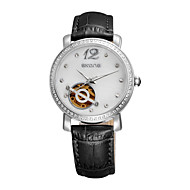 SKONE Women Watch Genuine Leather Strap Hollow Dial Design Imported Automatic Mechanical Movement Fashion Watch
