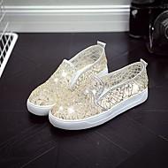 Damen Loafers & Slip-Ons Komfort Tüll Frühling Sommer Normal Komfort Paillette Flacher Absatz Weiß Schwarz Beige Flach