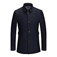 Heren Vintage Herfst / Winter Jas,Grote maten V-hals-Lange mouw Blauw / Rood / Zwart Effen Dik Wol / Katoen / Polyester