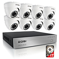 zosi® 8-kanaals 720p hdmi CCTV-systeem videorecorder 1TB 4 stuks 720p security camera waterdicht surveillance kits