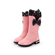 Girl's Boots Winter Fashion Boots /  PU Dress /  Flat Heel Bowknot / Zipper Black / Pink / Red / Burgundy Walking