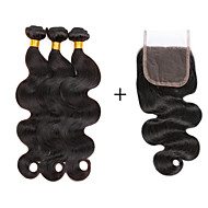 7A Brazilian Human Virgin Hair Body Wave 4*4 Lace Closure With 3 Bundles Hair Weft