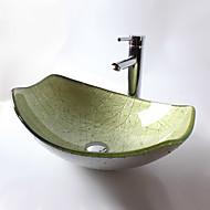 Zeitgenössisch T12*L525*W360*H165MM Rechteckig Sink Material ist HartglasWaschbecken für Badezimmer / Armatur für Badezimmer / Einbauring