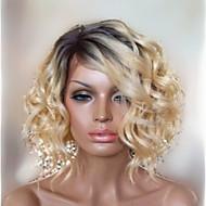 élégante capless ondulée moyenne perruques de haute qualité des cheveux humains couleur mélangée