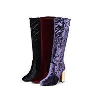Women's Boots Winter Fashion Boots Velvet Party & Evening / Dress / Casual Chunky Heel Zipper Black / Purple /