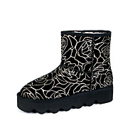 Women's Boots Spring / Fall / Winter Comfort Cowhide Outdoor / Athletic / Casual Flat Heel Fur / Flower Silver / Gold Walking