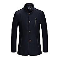 Nagy méretek Vintage Őszi / Téli-Férfi Kabát,Egyszínű V-alakú Hosszú ujj Kék / Piros / Fekete Gyapjú / Pamut / Poliészter Vastag