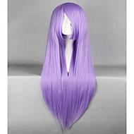 Promocja Rycerze Zodiaku Athena Saori Kido 80cm długa prosta fioletowy anime cosplay peruka