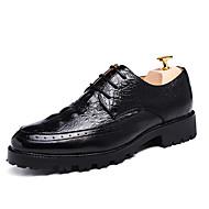 גברים-נעלי אוקספורד-עור פטנט-נעלי בובה (מרי ג'יין)-שחור / חום / בורגונדי-משרד ועבודה / קז'ואל / מסיבה וערב-עקב שטוח