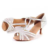 Obyčejné-Dámské-Taneční boty-Latina / Jazz / Moderní / Swing / Salsa-Třpytky-Nízký podpatek-Stříbrná