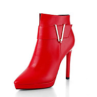 Women's Boots Fall / Winter Comfort PU Dress / Casual Stiletto Heel Zipper Black / Red Walking