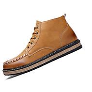 Støvler-PU-Komfort-Herre-Sort Brun Gul-Fritid-Flad hæl