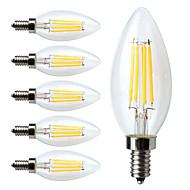 4W E12 LED žárovky s vláknem C35 4 COB 380 lm Teplá bílá Stmívací V 6 ks