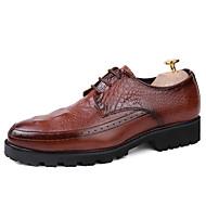 Kényelmes Formai cipő-Alacsony-Férfi-Félcipők-Irodai Party és Estélyi Alkalmi-Bőr-Fekete Barna Vörös