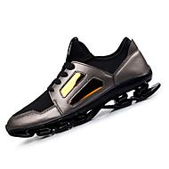 Muškarci Sneakers Proljeće Jesen Udobne cipele Mikrovlakana Aktivnosti u prirodi Atletika Ravna potpetica Vezanje Crna Srebrna Trčanje
