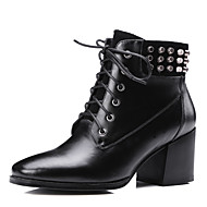 Women's Boots Spring / Fall Others Cowhide Outdoor / Dress / Casual Chunky Heel Rivet / Lace-up Black Others
