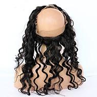 360 Frontális Laza hullám Emberi haj Bezárás Világos barna Francia csipke 75g-95g gramm Átlagos Cap Méret