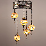 BOXIMIYA Restaurant Ideas To Restore Ancient Ways Wrought Iron Mediterranean Country Art Glass Droplight Sitting Room