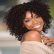 cabelo curto crespos estilo encaracolado cor marrom escuro perucas sintéticas para as mulheres