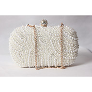 Women Bags All Seasons Satin Evening Bag with Beading Pearl Imitation Pearl for Wedding Event/Party Formal White-Beige-Red