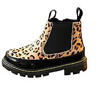 Girl's Boots Fall / Winter Comfort Fur Dress / Casual Flat Heel Zipper Black / Animal Print Walking