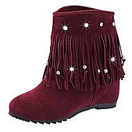 Women's Boots Comfort Fashion Boots PU Spring Casual Walking Comfort Fashion Boots Tassel Flat Heel Black Burgundy Flat