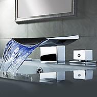 Současné Baterie na střed LED / Vodopád with  Keramický ventil Dvěma uchy tři otvory for  Pochromovaný , Koupelna Umyvadlová baterie