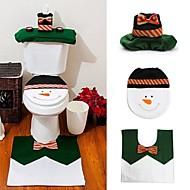 1 Sæt Glade Snemand Julen Badeværelse Dekoration Sæt Toiletsæde Dække Tæppe Jul År Kampagner