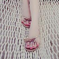Для женщин Тапочки и Шлепанцы Босоножки Резина Лето Повседневные Босоножки Заклепки На плоской подошве Черный Розовый На плоской подошве