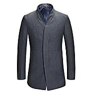 Herren Solide Retro Übergröße Mantel,Herbst / Winter V-Ausschnitt Langarm Blau / Schwarz Dick Wolle / Baumwolle / Polyester