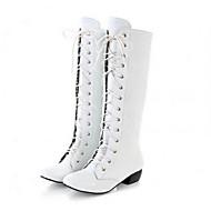 Damer Støvler Militærstøvler PU Forår Efterår Vinter Afslappet Militærstøvler Snøring Tyk hæl Hvid Sort Lys pink Under 2,5 cm