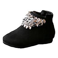 女の子用-ドレスシューズ カジュアル-繊維-フラットヒール-コンフォートシューズ-ブーツ-ブラック レッド