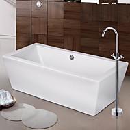 עכשווי / ארט דקו / רטרו / מודרני מקלחת ואמבטיה מפל / spary Wide / מעמד ריצפתי with  שסתום קרמי שתי ידיות חור אחד for  כרום , ברז לאמבטיה