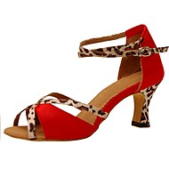 Customizable Women's Dance Shoes Satin  Latin / Jazz / Swing Shoes / Salsa Sandals / Heels Customized HeelPractice / Beginner