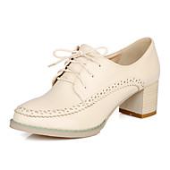 Oxford-kengät-Leveä korko-Naiset-PU-Valkoinen Musta Ruskea-Toimisto Rento-Comfort