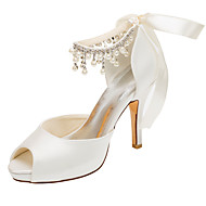 Women's Heels Spring / Fall Platform Stretch Satin Wedding / Dress Stiletto Heel Crystal / Pearl Ivory Others