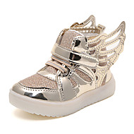 Girl's Boots Fall Winter Comfort PU Casual Flat Heel Magic Tape Pink Silver Gold Walking
