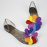 Women's Sandals Transparent Summer Comfort Rubber Casual Flat Heel Flower Black Champagne Others