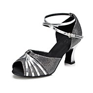 Customizable Women's Dance Shoes Sparkling Glitter Latin / Salsa Sandals / Heels Customized HeelPractice / Beginner
