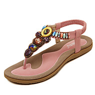 Women's Sandals Spring Summer Fall Mary Jane PU Dress Casual Flat Heel Rhinestone Imitation Pearl Buckle Black Blue Pink Almond Walking