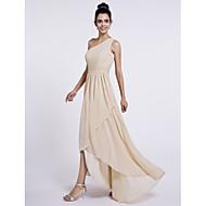 LAN TING BRIDE Asymmetrisch Ein/Schulter Brautjungfernkleid - Elegant Ohne Ärmel Chiffon
