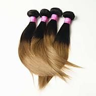 6A 4pcs 50g Black/Blonde Straight Human Hair Weaves Malaysian Texture Human Hair Extensions
