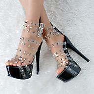 נשים-סנדלים-דמוי עור-נעליים ותיקים תואמים-שחור-חתונה / קז'ואל / מסיבה וערב-עקב סטילטו