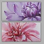 100% Hand-Painted Abstract Floral/Botanical Hang-Painted Oil PaintingModern / Classic Two Panels Canvas Oil Painting For Home Decoration